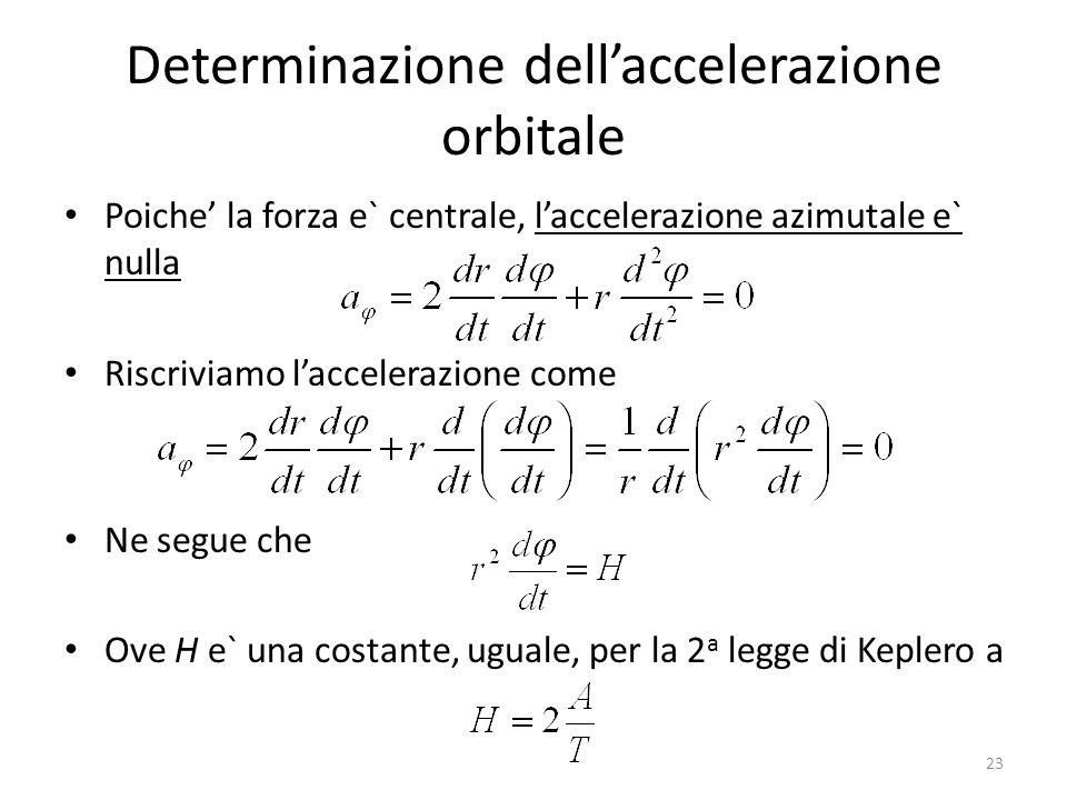 Determinazione dellaccelerazione orbitale Poiche la forza e` centrale, laccelerazione azimutale e` nulla Riscriviamo laccelerazione come Ne segue che