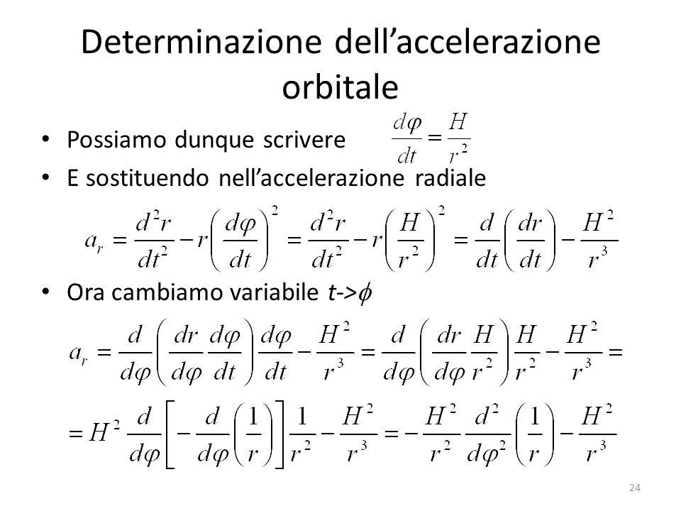 Determinazione dellaccelerazione orbitale Possiamo dunque scrivere E sostituendo nellaccelerazione radiale Ora cambiamo variabile t-> 24