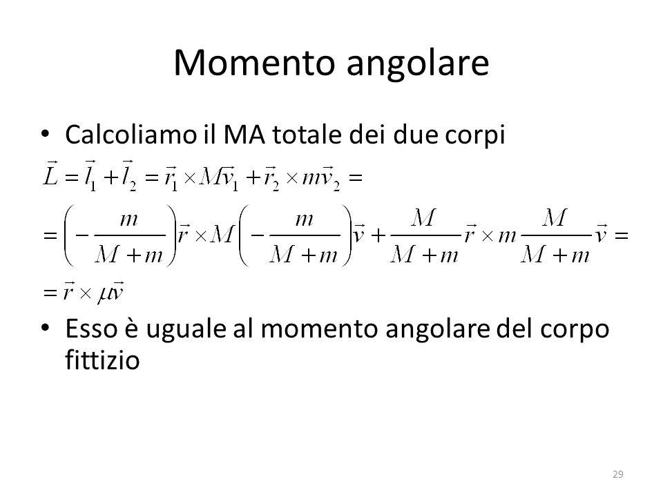 Momento angolare Calcoliamo il MA totale dei due corpi Esso è uguale al momento angolare del corpo fittizio 29