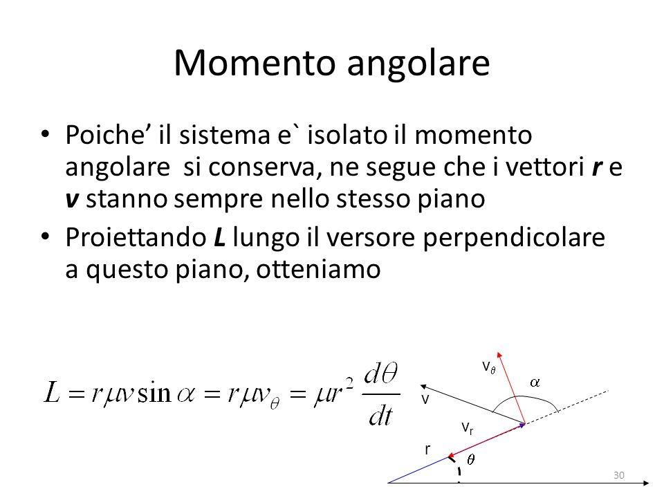Poiche il sistema e` isolato il momento angolare si conserva, ne segue che i vettori r e v stanno sempre nello stesso piano Proiettando L lungo il ver