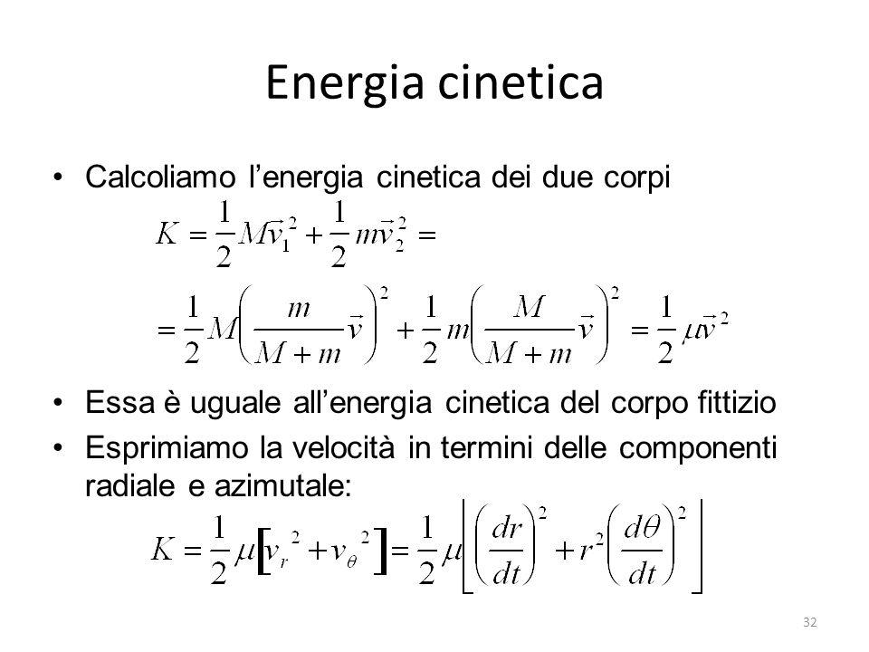 Energia cinetica Calcoliamo lenergia cinetica dei due corpi Essa è uguale allenergia cinetica del corpo fittizio Esprimiamo la velocità in termini del