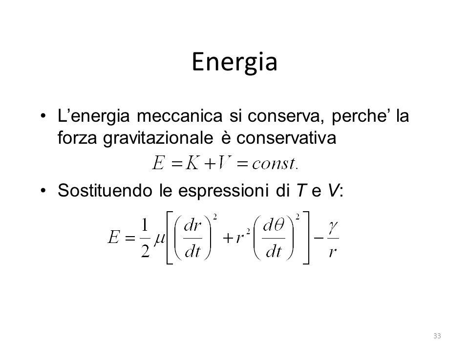 Energia Lenergia meccanica si conserva, perche la forza gravitazionale è conservativa Sostituendo le espressioni di T e V: 33