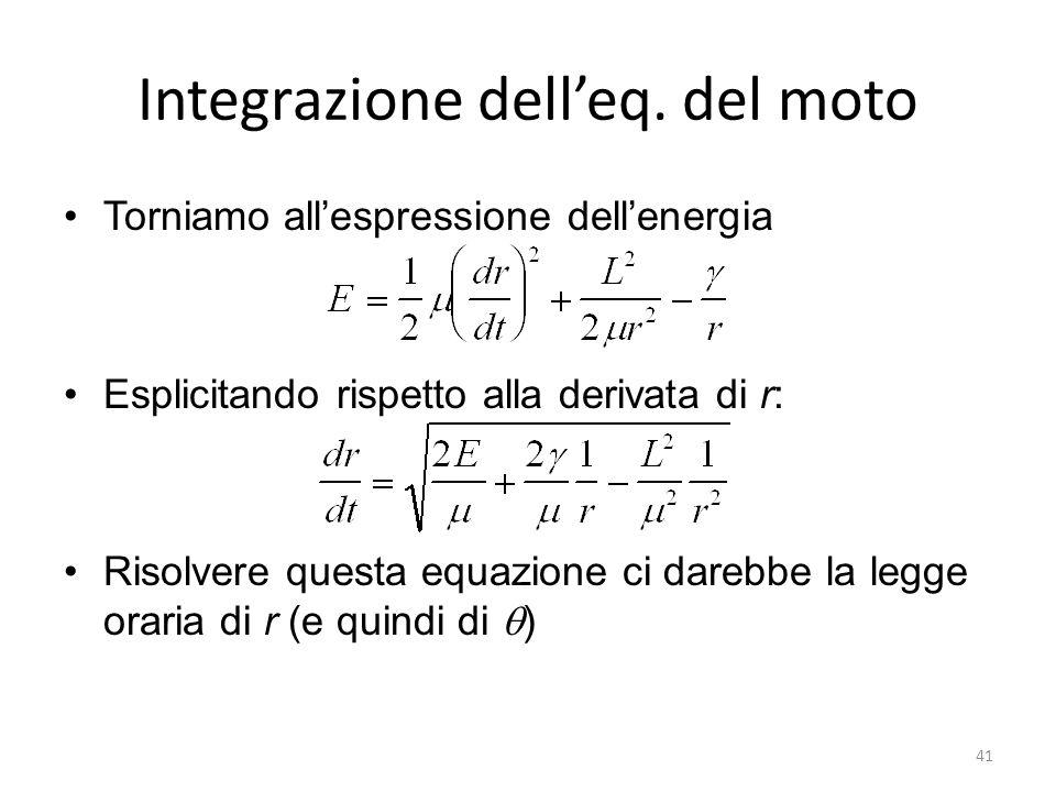 Integrazione delleq. del moto Torniamo allespressione dellenergia Esplicitando rispetto alla derivata di r: Risolvere questa equazione ci darebbe la l