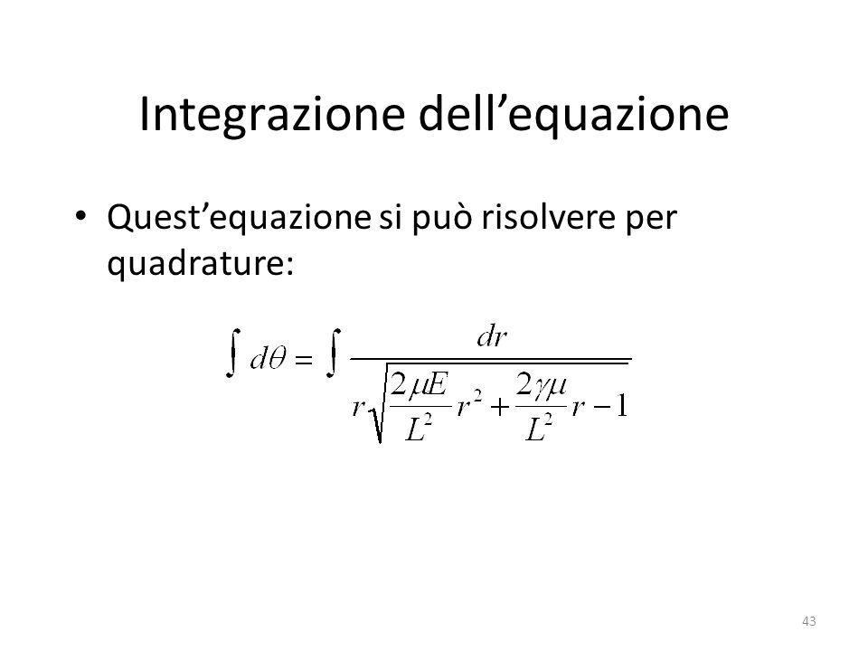 Integrazione dellequazione Questequazione si può risolvere per quadrature: 43