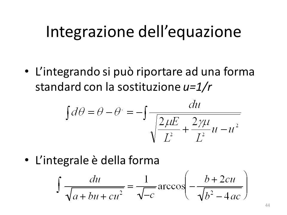 44 Integrazione dellequazione Lintegrando si può riportare ad una forma standard con la sostituzione u=1/r Lintegrale è della forma