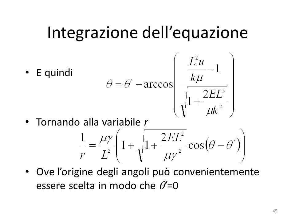 45 Integrazione dellequazione E quindi Tornando alla variabile r Ove lorigine degli angoli può convenientemente essere scelta in modo che=0