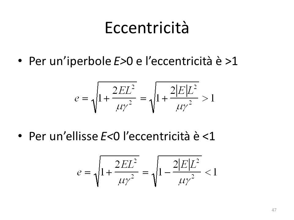 Eccentricità Per uniperbole E>0 e leccentricità è >1 Per unellisse E<0 leccentricità è <1 47