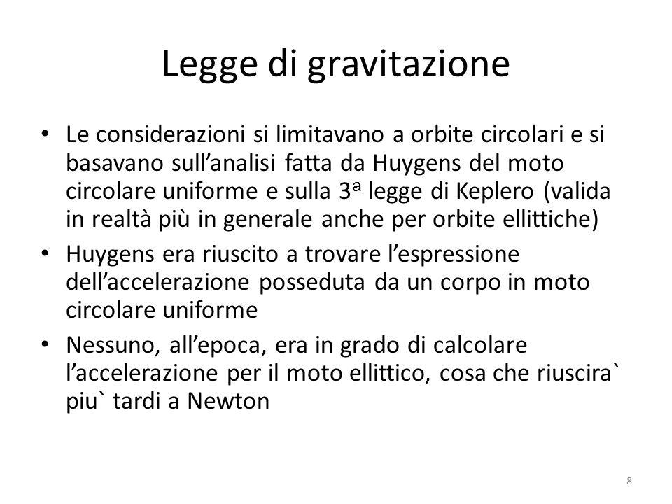 Legge di gravitazione Le considerazioni si limitavano a orbite circolari e si basavano sullanalisi fatta da Huygens del moto circolare uniforme e sull