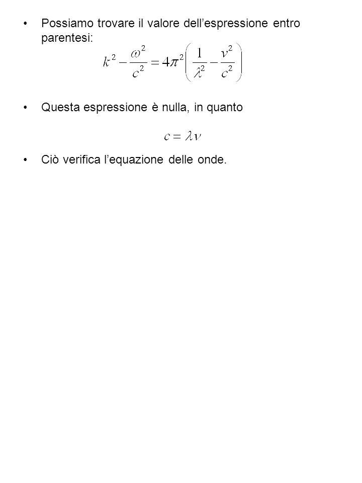 Possiamo trovare il valore dellespressione entro parentesi: Questa espressione è nulla, in quanto Ciò verifica lequazione delle onde.