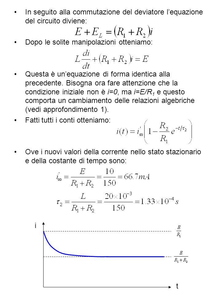 In seguito alla commutazione del deviatore lequazione del circuito diviene: Dopo le solite manipolazioni otteniamo: Questa è unequazione di forma iden