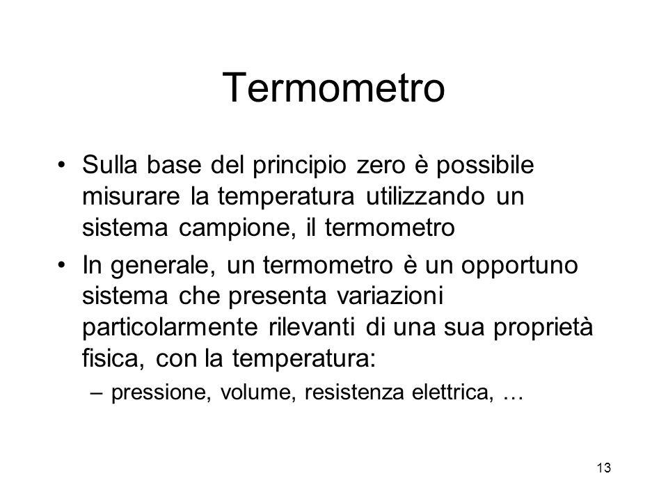 Termometro Sulla base del principio zero è possibile misurare la temperatura utilizzando un sistema campione, il termometro In generale, un termometro