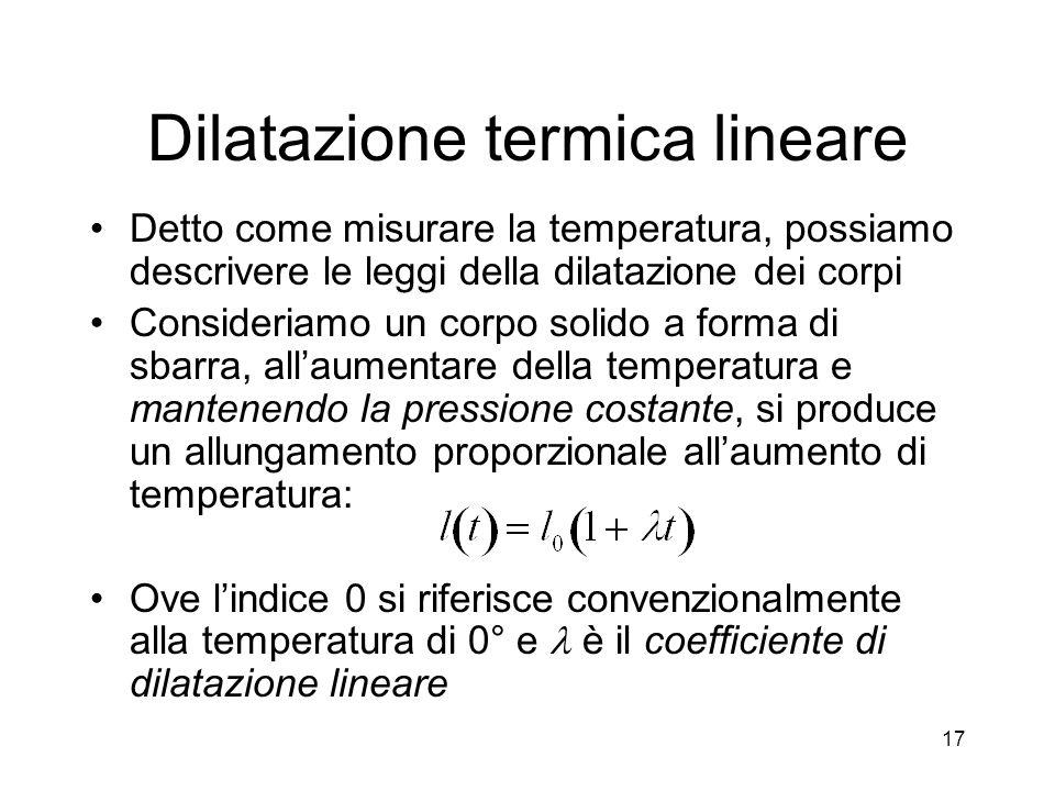 Dilatazione termica lineare Detto come misurare la temperatura, possiamo descrivere le leggi della dilatazione dei corpi Consideriamo un corpo solido