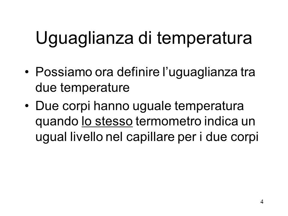 Uguaglianza di temperatura Possiamo ora definire luguaglianza tra due temperature Due corpi hanno uguale temperatura quando lo stesso termometro indic
