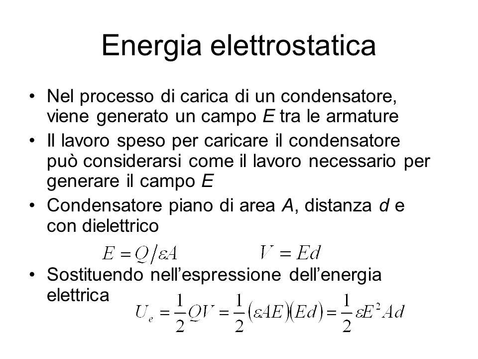 Energia elettrostatica Nel processo di carica di un condensatore, viene generato un campo E tra le armature Il lavoro speso per caricare il condensato
