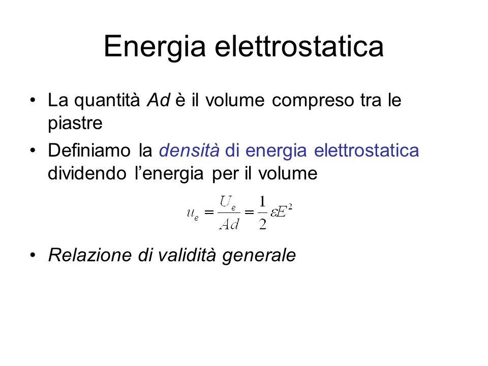 Energia elettrostatica La quantità Ad è il volume compreso tra le piastre Definiamo la densità di energia elettrostatica dividendo lenergia per il vol
