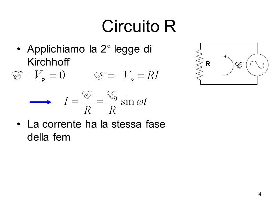 Circuito R Applichiamo la 2° legge di Kirchhoff La corrente ha la stessa fase della fem R E 4