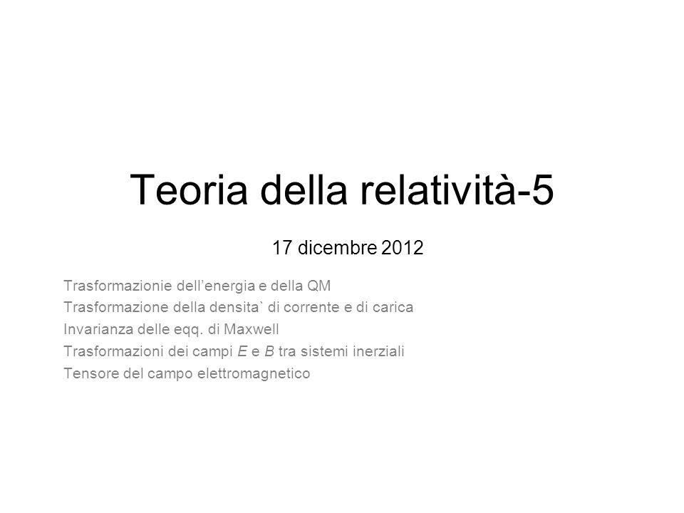 Teoria della relatività-5 17 dicembre 2012 Trasformazionie dellenergia e della QM Trasformazione della densita` di corrente e di carica Invarianza del