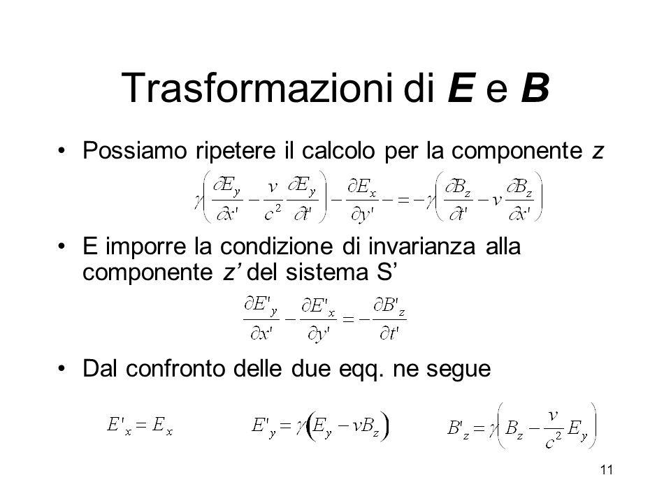 11 Trasformazioni di E e B Possiamo ripetere il calcolo per la componente z E imporre la condizione di invarianza alla componente z del sistema S Dal