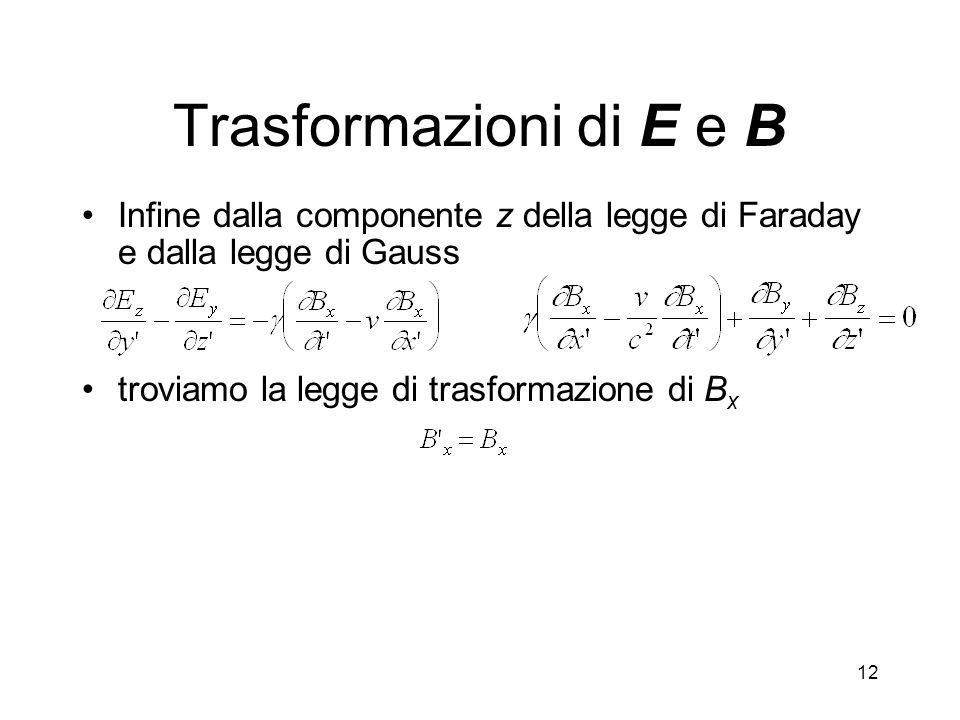 12 Trasformazioni di E e B Infine dalla componente z della legge di Faraday e dalla legge di Gauss troviamo la legge di trasformazione di B x