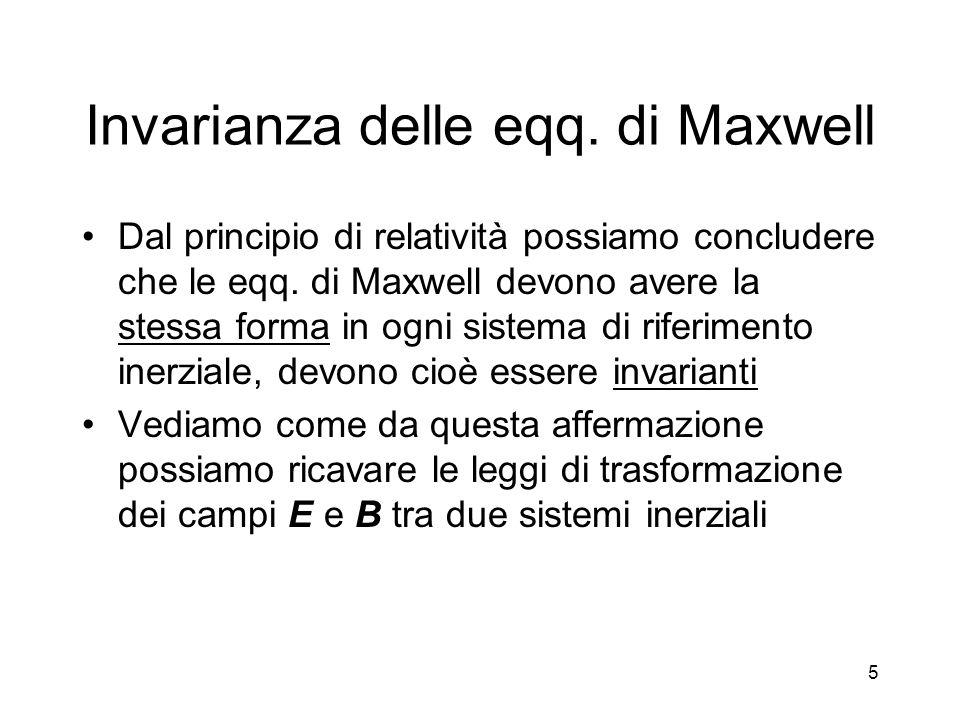 5 Invarianza delle eqq. di Maxwell Dal principio di relatività possiamo concludere che le eqq. di Maxwell devono avere la stessa forma in ogni sistema