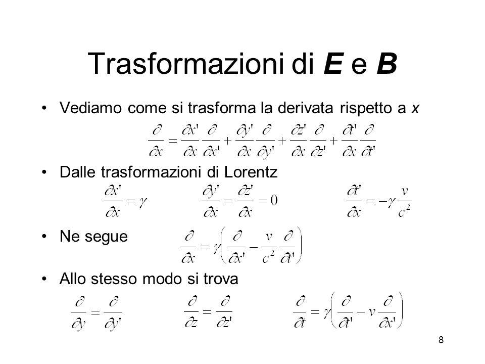 8 Trasformazioni di E e B Vediamo come si trasforma la derivata rispetto a x Dalle trasformazioni di Lorentz Ne segue Allo stesso modo si trova