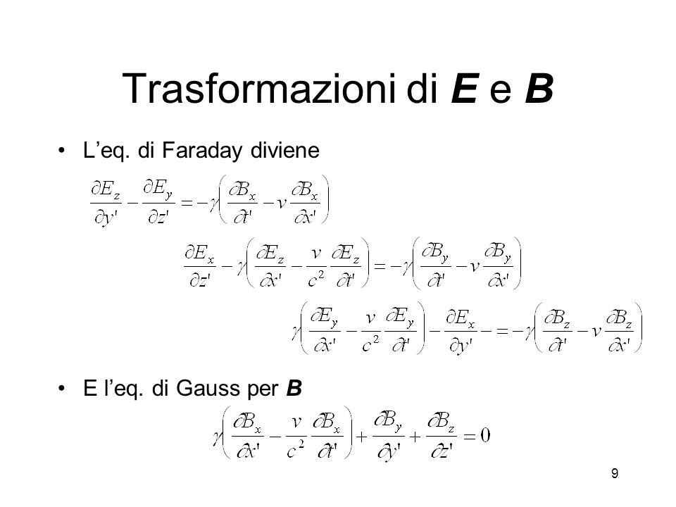 9 Trasformazioni di E e B Leq. di Faraday diviene E leq. di Gauss per B