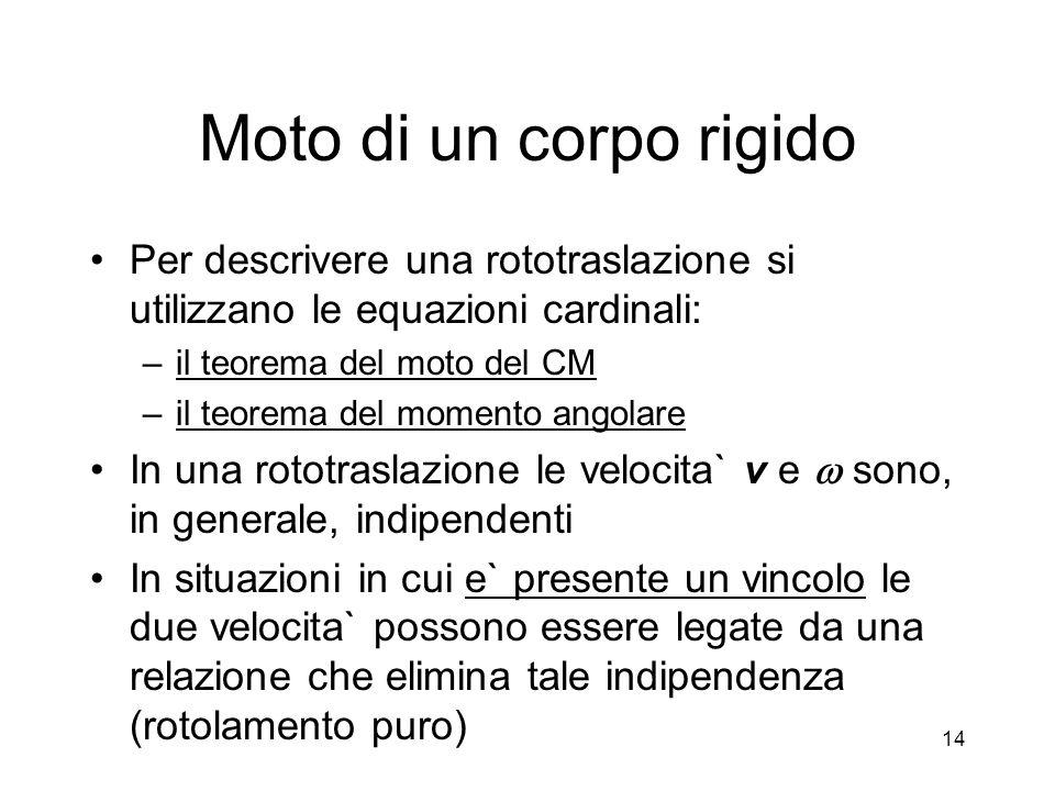 Per descrivere una rototraslazione si utilizzano le equazioni cardinali: –il teorema del moto del CM –il teorema del momento angolare In una rototrasl