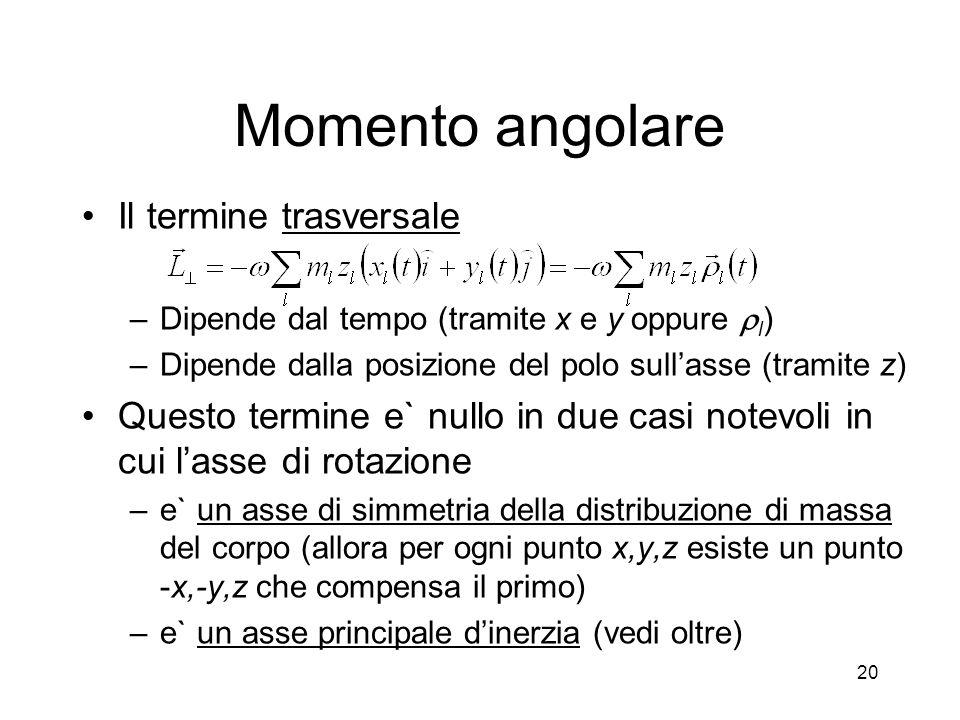 Momento angolare Il termine trasversale –Dipende dal tempo (tramite x e y oppure l ) –Dipende dalla posizione del polo sullasse (tramite z) Questo ter