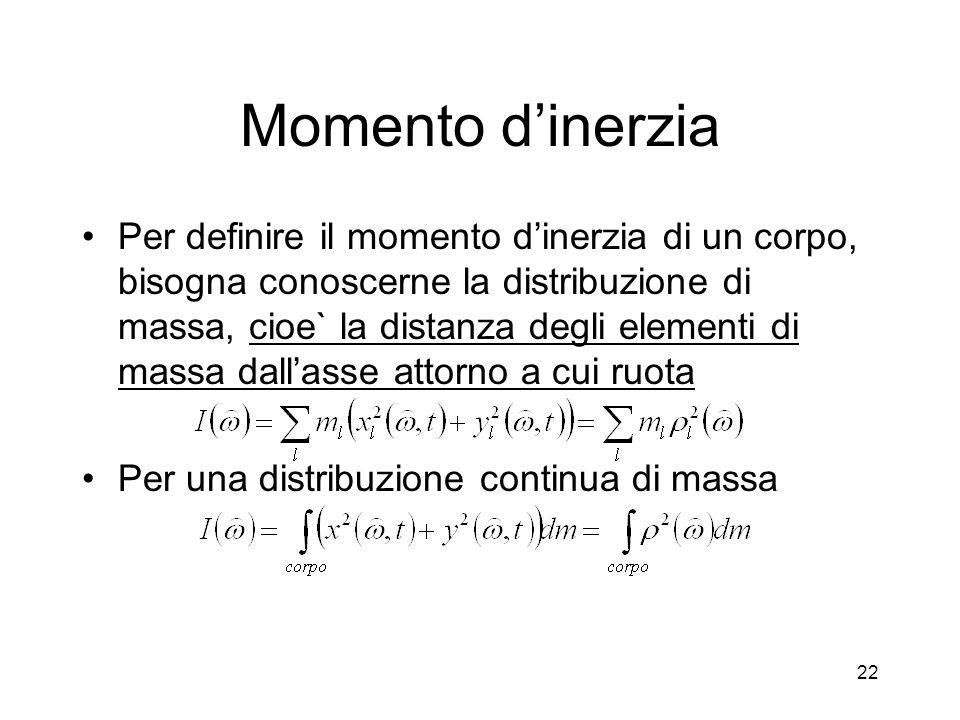 Momento dinerzia Per definire il momento dinerzia di un corpo, bisogna conoscerne la distribuzione di massa, cioe` la distanza degli elementi di massa