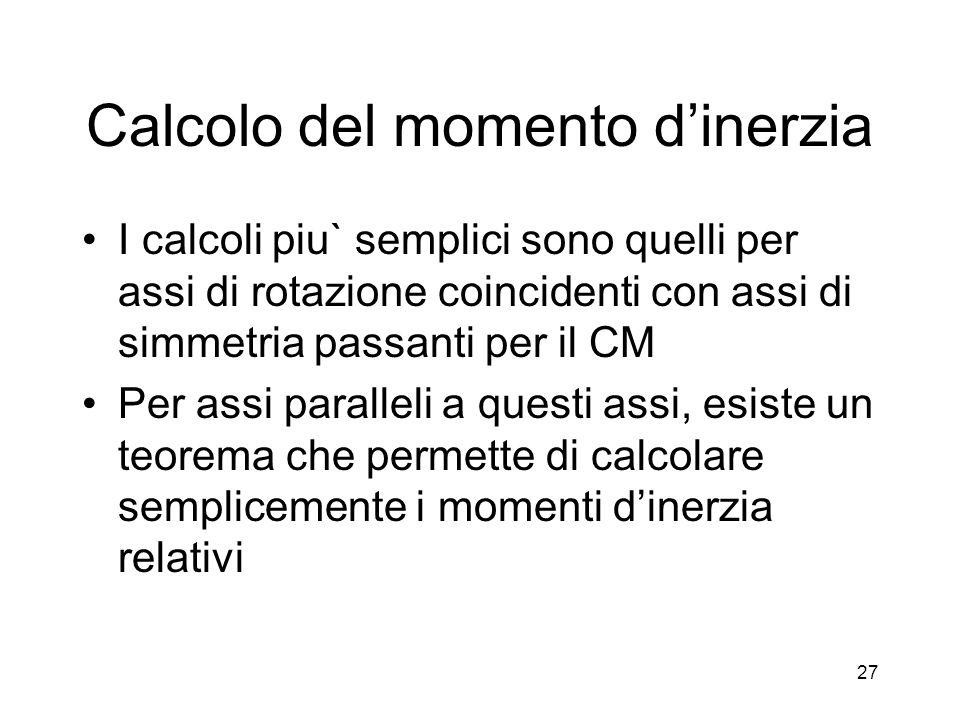 Calcolo del momento dinerzia I calcoli piu` semplici sono quelli per assi di rotazione coincidenti con assi di simmetria passanti per il CM Per assi p