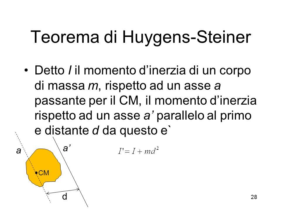 Teorema di Huygens-Steiner Detto I il momento dinerzia di un corpo di massa m, rispetto ad un asse a passante per il CM, il momento dinerzia rispetto