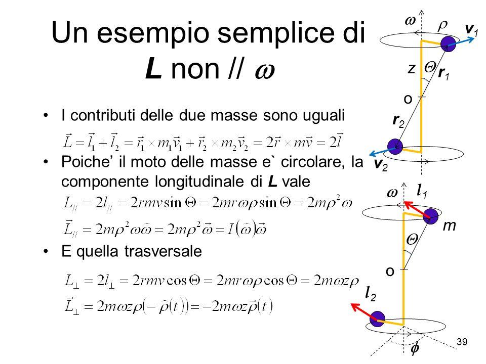I contributi delle due masse sono uguali Poiche il moto delle masse e` circolare, la componente longitudinale di L vale E quella trasversale o m l1l1