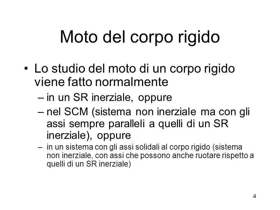 Moto del corpo rigido Lo studio del moto di un corpo rigido viene fatto normalmente –in un SR inerziale, oppure –nel SCM (sistema non inerziale ma con