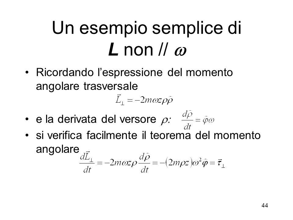 Ricordando lespressione del momento angolare trasversale e la derivata del versore si verifica facilmente il teorema del momento angolare Un esempio s