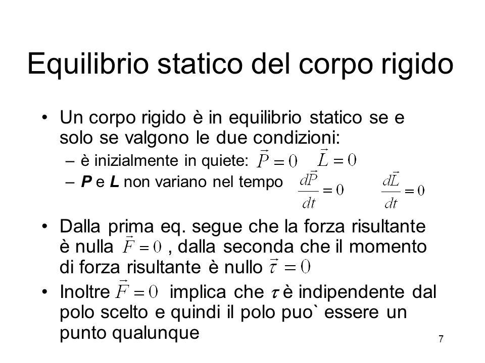 Equilibrio statico del corpo rigido Un corpo rigido è in equilibrio statico se e solo se valgono le due condizioni: –è inizialmente in quiete: –P e L