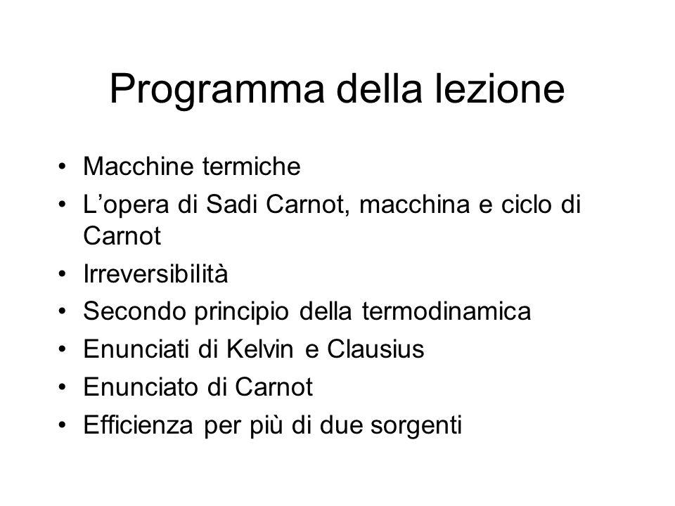 Programma della lezione Macchine termiche Lopera di Sadi Carnot, macchina e ciclo di Carnot Irreversibilità Secondo principio della termodinamica Enun
