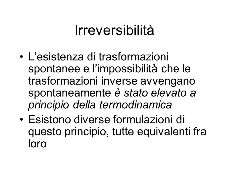 Irreversibilità Lesistenza di trasformazioni spontanee e limpossibilità che le trasformazioni inverse avvengano spontaneamente è stato elevato a princ