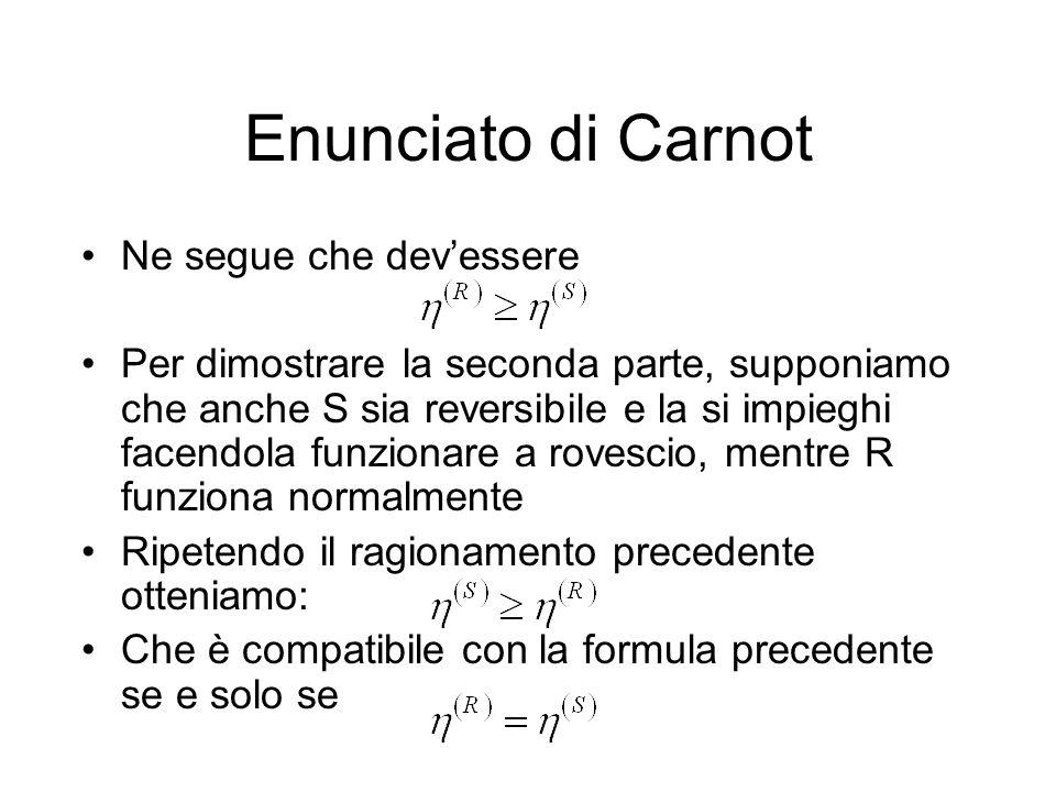 Enunciato di Carnot Ne segue che devessere Per dimostrare la seconda parte, supponiamo che anche S sia reversibile e la si impieghi facendola funziona