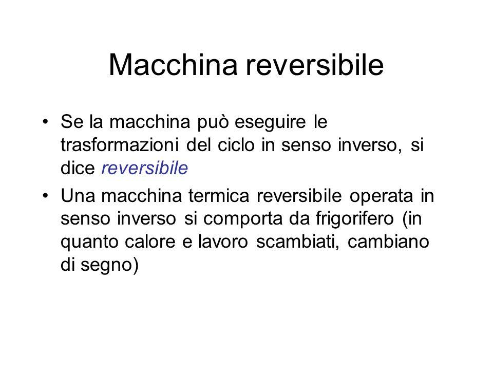 Carnot Studiava lefficienza delle macchine termiche Fu indotto a ideare una macchina reversibile funzionante tra due sorgenti Non si pretende di realizzare praticamente una tale macchina, essa è uno strumento di ragionamento teorico