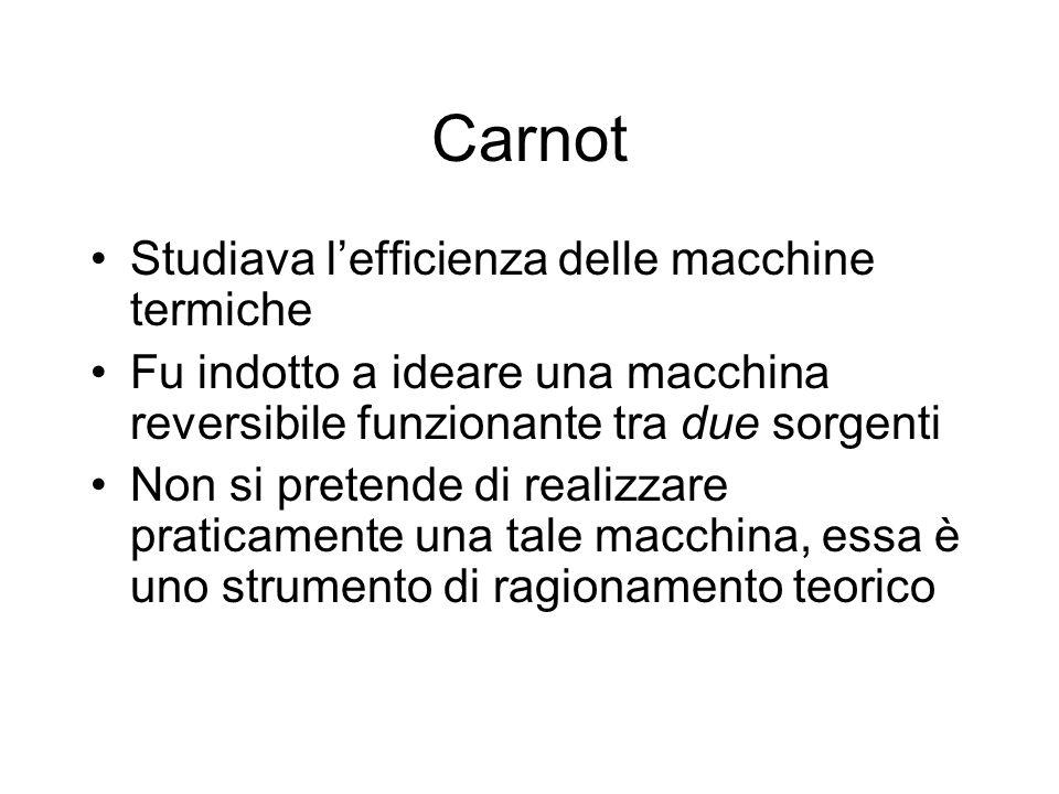 Carnot Studiava lefficienza delle macchine termiche Fu indotto a ideare una macchina reversibile funzionante tra due sorgenti Non si pretende di reali
