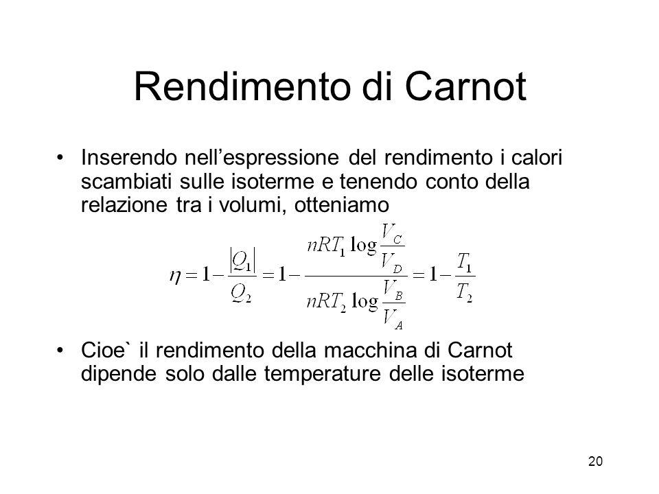Rendimento di Carnot Inserendo nellespressione del rendimento i calori scambiati sulle isoterme e tenendo conto della relazione tra i volumi, otteniam