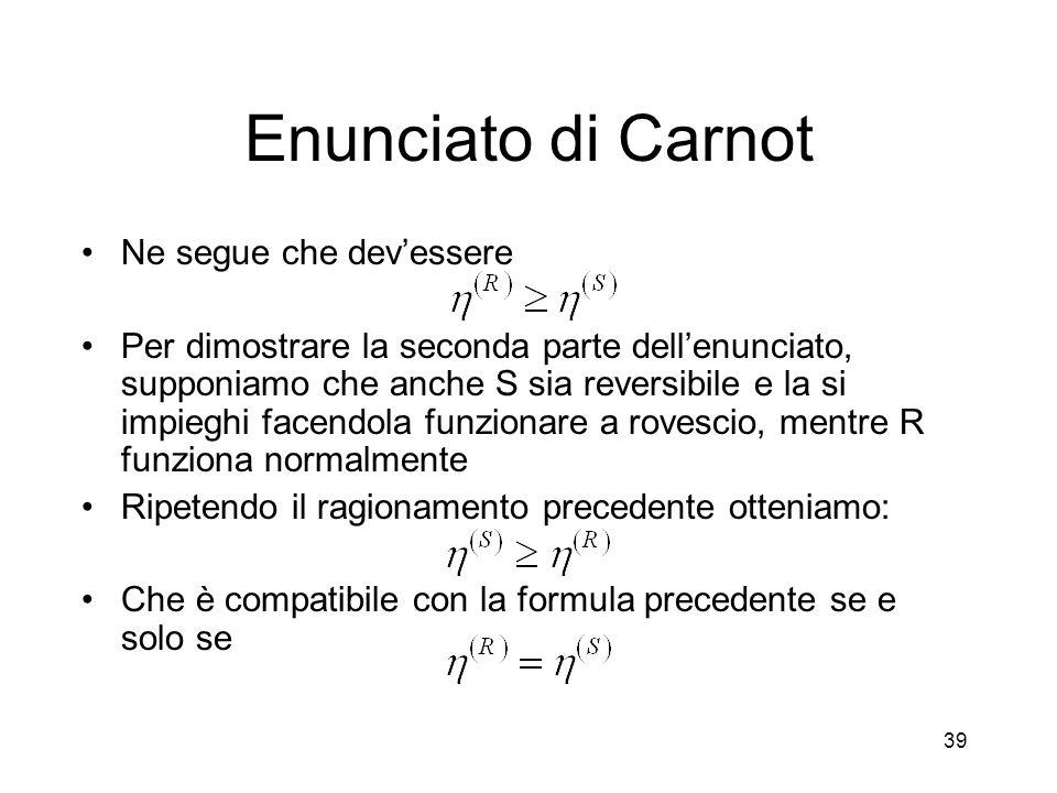 Enunciato di Carnot Ne segue che devessere Per dimostrare la seconda parte dellenunciato, supponiamo che anche S sia reversibile e la si impieghi face