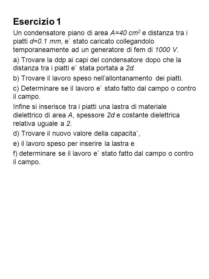 Soluzione dellesercizio 1 Troviamo innanzitutto la capacita` del condensatore: e la carica accumulata Dopo la separazione dei piatti la capacita` diviene: Per trovare la nuova ddp ci basiamo sul principio di conservazione della carica.
