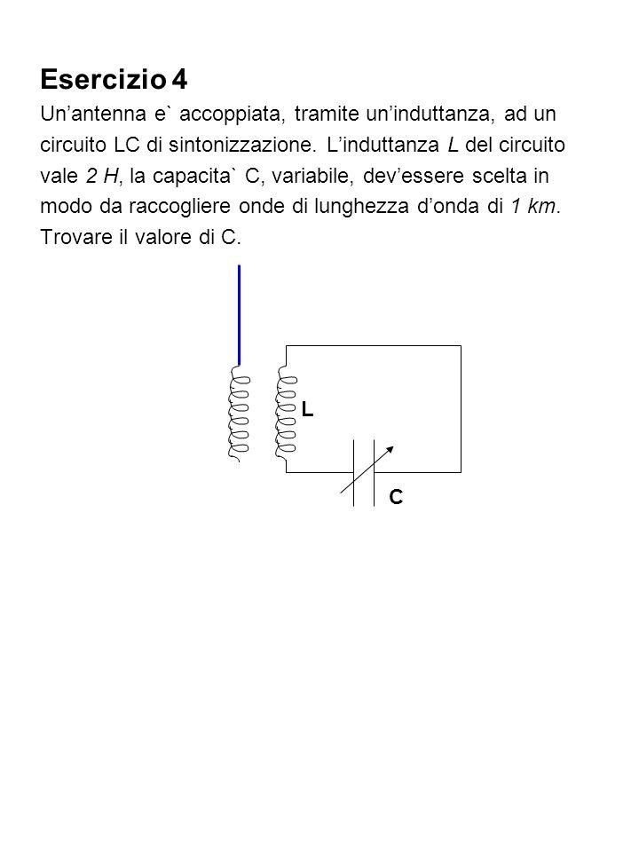 Esercizio 4 Unantenna e` accoppiata, tramite uninduttanza, ad un circuito LC di sintonizzazione. Linduttanza L del circuito vale 2 H, la capacita` C,