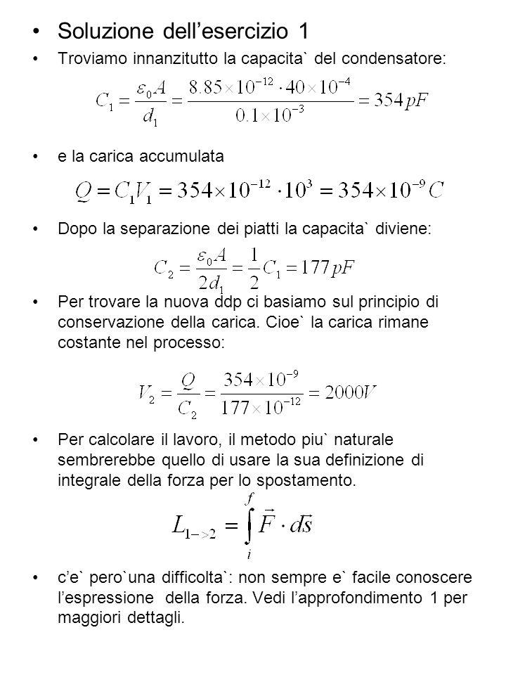 Soluzione dellesercizio 1 Troviamo innanzitutto la capacita` del condensatore: e la carica accumulata Dopo la separazione dei piatti la capacita` divi