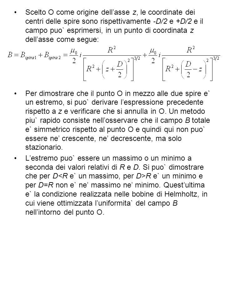 Scelto O come origine dellasse z, le coordinate dei centri delle spire sono rispettivamente -D/2 e +D/2 e il campo puo` esprimersi, in un punto di coordinata z dellasse come segue: Per dimostrare che il punto O in mezzo alle due spire e` un estremo, si puo` derivare lespressione precedente rispetto a z e verificare che si annulla in O.