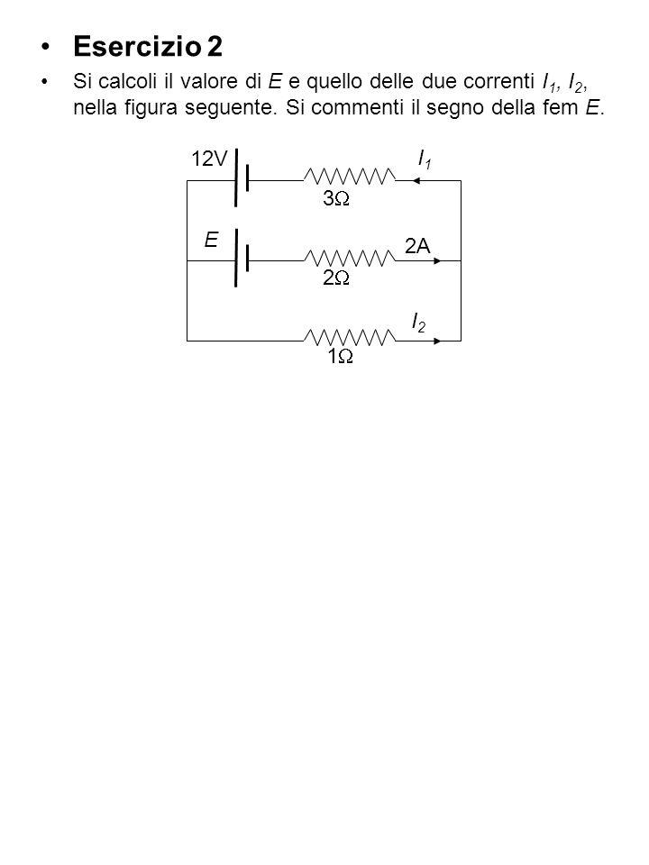 Esercizio 2 Si calcoli il valore di E e quello delle due correnti I 1, I 2, nella figura seguente. Si commenti il segno della fem E. 3 2 I1I1 1 12V 2A