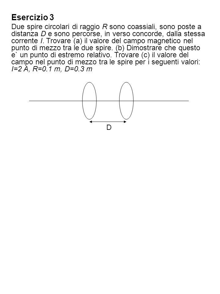 Soluzione dellesercizio 3 Detto z lasse delle spire, troviamo il campo magnetico di ciascuna spira in un punto O dellasse, mediante la formula di Laplace.