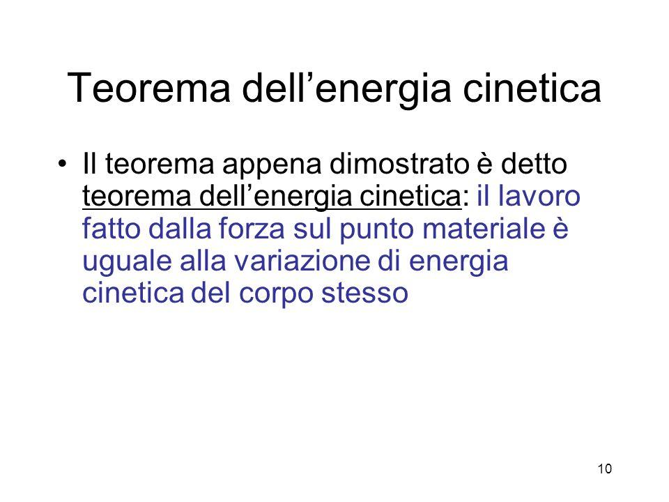 Teorema dellenergia cinetica Il teorema appena dimostrato è detto teorema dellenergia cinetica: il lavoro fatto dalla forza sul punto materiale è ugua