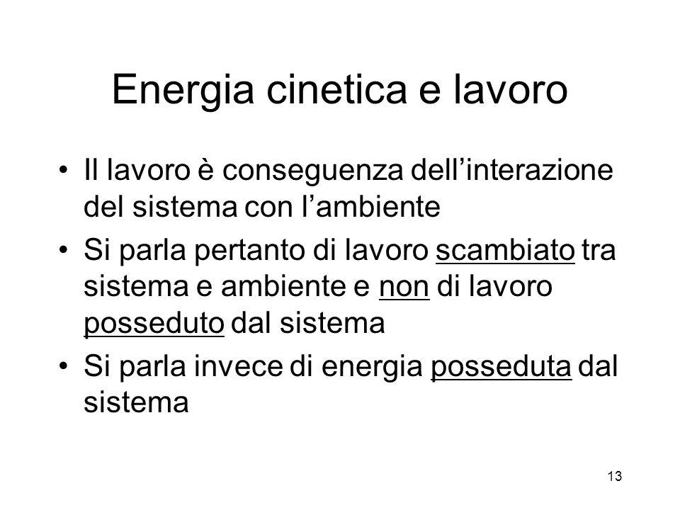 Energia cinetica e lavoro Il lavoro è conseguenza dellinterazione del sistema con lambiente Si parla pertanto di lavoro scambiato tra sistema e ambien